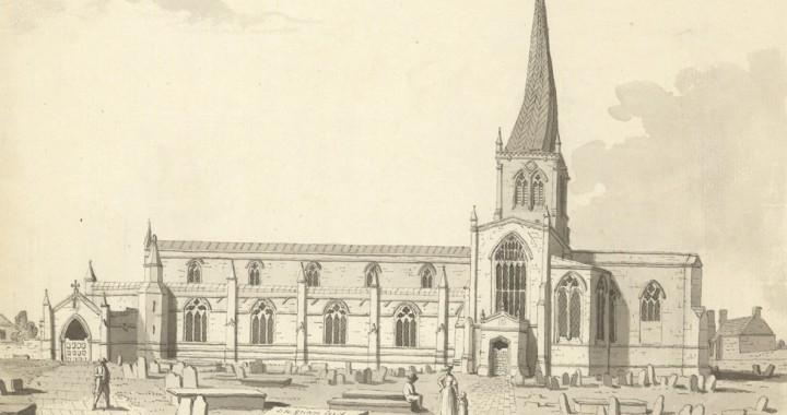 """Samuel Hieronymus Grimm, """"Chesterfield Church in Derbyshire"""" 1773."""